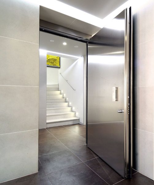 Panic room with stainless steel door cropped