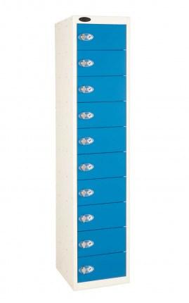 Probe 10 Door Electronic Locking Personal Storage Steel Locker Blue Doors