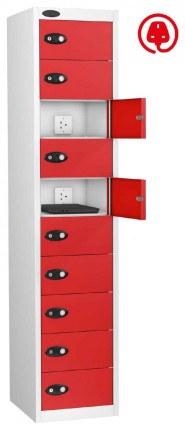 Laptop Charging Locker 10 Door - Probe Lapbox 10CHD - Red