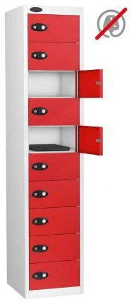 Probe Laptop Storage Locker 10 Doors 380x460 - red doors open