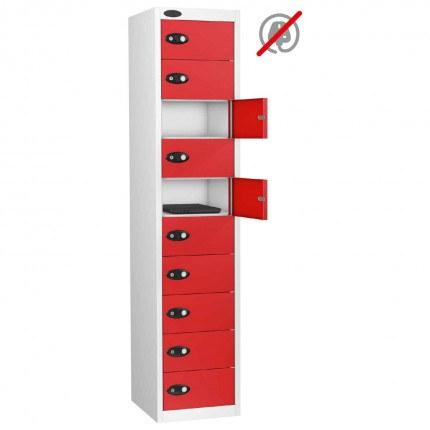 Probe 10 Door Electronic Locking Personal Storage Steel Locker Red Doors