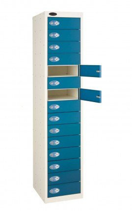 Probe 15 Door Combination Locking Storage Locker  Blue door open