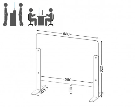 Vialux 150HGP Securit® Safety Glass Screen Divider 680mm showing dimensions with hatch