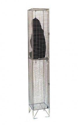 Bright Zinc Wire Mesh Locker Single 2 Door