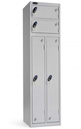 Probe Two Person Storage Combinationy Locking Locker 1780x460x460 silver doors closed