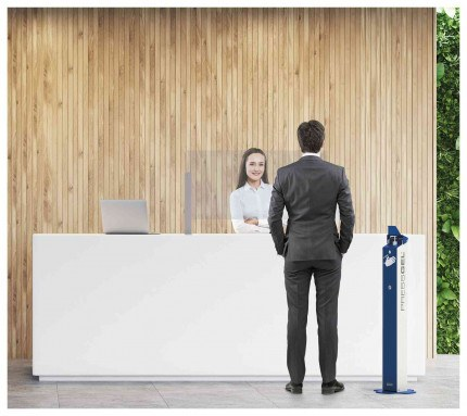 PRESSGEL Sanitiser Floor Fixed Hand Gel Dispenser Holder at reception desk