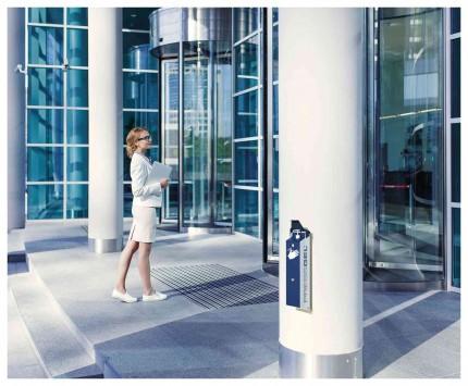 PRESSGEL™ Sanitiser Wall Fixed Hand Gel Dispenser Holder fitte to office building entrance
