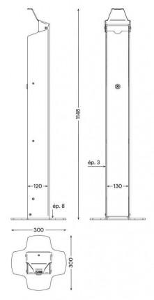 PRESSGEL Sanitiser Floor Fixed Hand Gel Dispenser Holder - dimensions