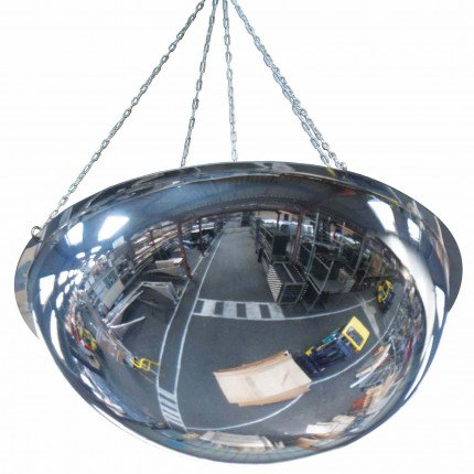 Wide Angle Polycarbonate Ceiling Dome Convex Mirror - Vialux 3695PC 100cm - showing suspension chain fixing