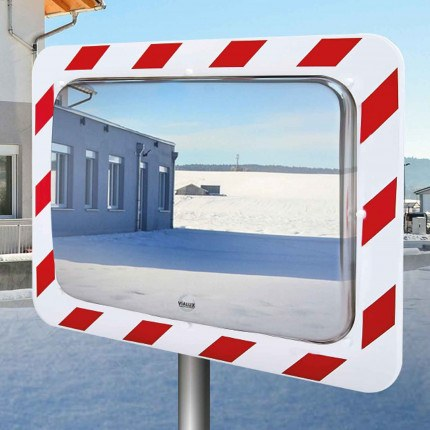 Vialux 854-AB Frost-Free Stainless Steel Traffic Mirror 60x40cm - on post