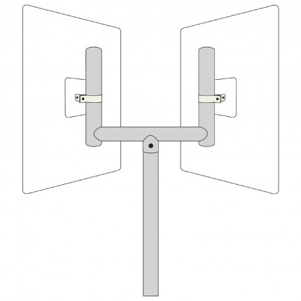 Twin Fork Top Bracket to fit two View-Minder Traffic Mirrors