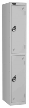 Probe 2 Door Combination Locking High Metal Locker Silver Grey