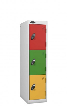 Probe Primary School Locker with 3 doors 30cm deep with multi-colour doors available on request