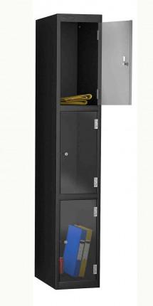 Probe 3 Door Key Locking Clear Vision Anti-Theft Locker black