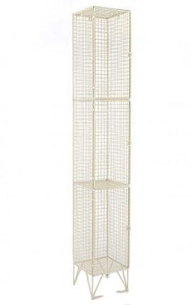 Cream Wire Mesh Locker 3 Door 305x305 Single