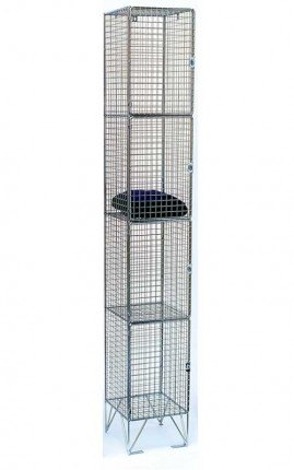 Bright Zinc Wire Mesh Locker 4 Door 305x450 Single