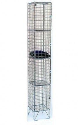 Bright Zinc Wire Mesh Locker 4 Door 305x450 Single