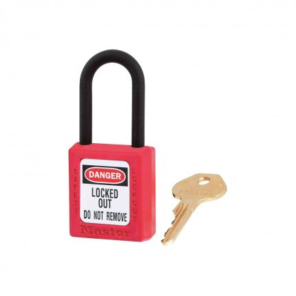 Lock-out Non-Conductive Padlock- Master Lock Zenex 406 RED