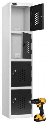 Probe Recharge 4 Door Power Tool Charging Steel Storage Locker - Black