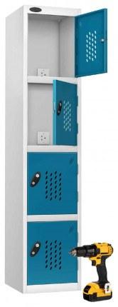 Probe Recharge 4 Door Power Tool Charging Steel Storage Locker - Blue