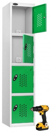 Probe Recharge 4 Door Power Tool Charging Steel Storage Locker - Green