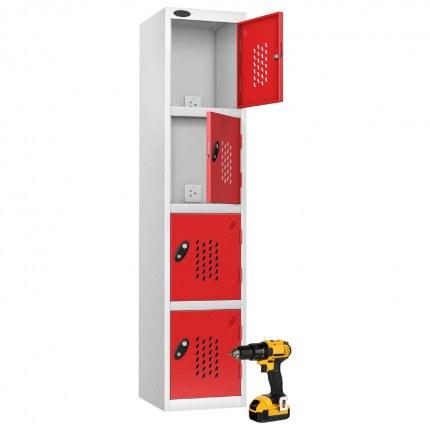 Probe Recharge 4 Door Power Tool Charging Steel Storage Locker - Red