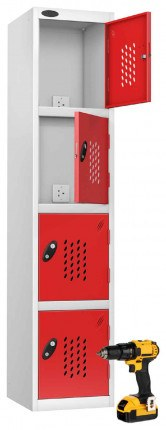 Probe Recharge 4 Door Power Tool Charging Steel Storage Locker USB + 3 PIN- Red