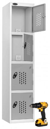 Probe Recharge 4 Door Power Tool Charging Steel Storage Locker - Silver Grey