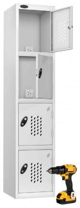 Probe Recharge 4 Door Power Tool Charging Steel Storage Locker - White