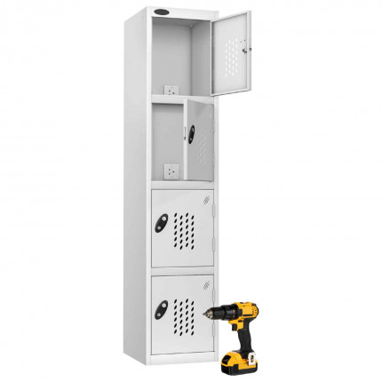 Probe Recharge 4 Door Power Tool Charging Steel Storage Locker - White