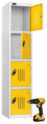 Probe Recharge 4 Door Power Tool Charging Steel Storage Locker USB + 3 PIN- Yellow