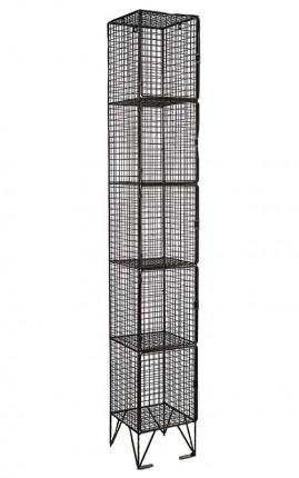 Black Wire Mesh Locker 5 Door 305x450 Single
