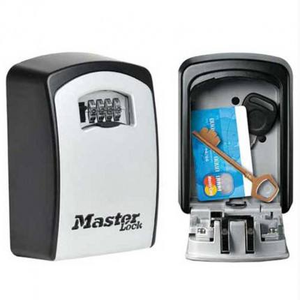 Master Lock 5403EURD Extra Large Spare Key Safe showing the safe open and closed