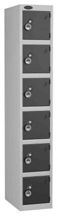 Probe 6 Door Combination Locking High Metal Locker black