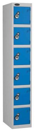 Probe 6 Door Combination Locking High Metal Locker blue