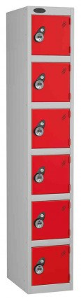 Probe 6 Door Combination Locking High Metal Locker red