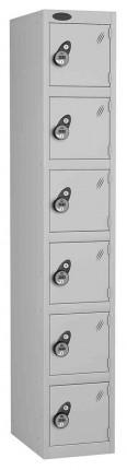 Probe 6 Door Combination Locking High Metal Locker silver grey