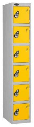 Probe 6 Door Combination Locking High Metal Locker yellow