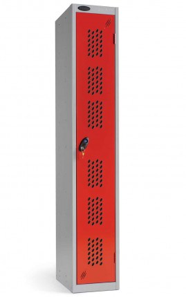 Probe Single Door Clothes Locker with a Red Perforated Door for extra ventilation