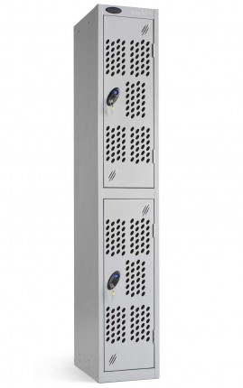 Probe 2 Door Silver Metal Locker with perforated doors to offer extra Ventilation