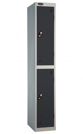 Probe 2 Door Metal Locker with Black doors and silver carcass