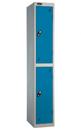Probe 2 Door Metal Locker with blue doors and silver carcass