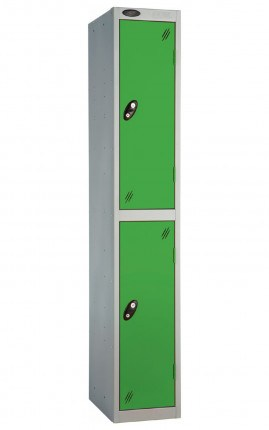 Probe 2 Door Metal Locker with green doors and silver carcass