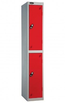 Probe 2 Door Metal Locker with red doors and silver carcass