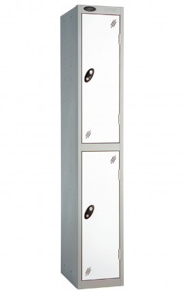 Probe 2 Door Metal Locker with white doors and silver carcass