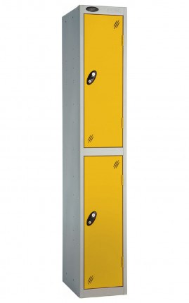 Probe 2 Door Metal Locker with yellow doors and silver carcass