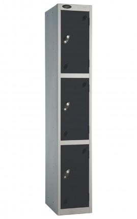 Probe 3 Door Low Locker 1780mm high black doors and silver body