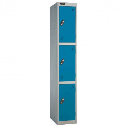 Probe 3 Door High Metal Locker Type L Electronic Lock Blue