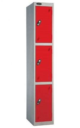 Probe 3 Door Locker 1780mm high red doors and silver body