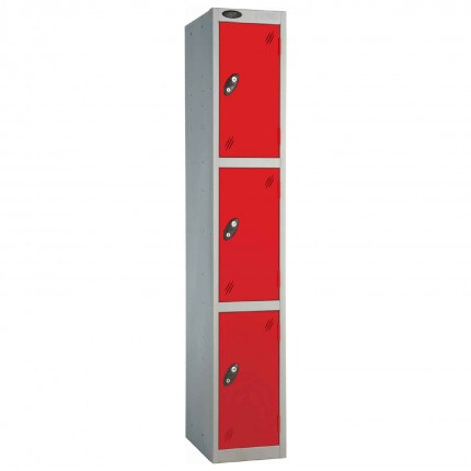 Probe 3 Door High Metal Locker Type L Electronic Lock Red